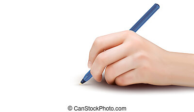 Hand with pen writing on paper.