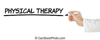 Hand with pen writing Physical Therapy