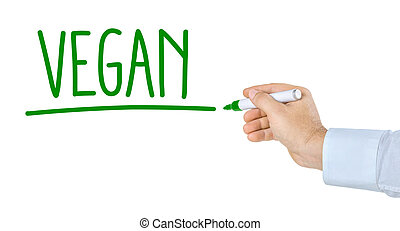 Hand with pen writing the word Vegan