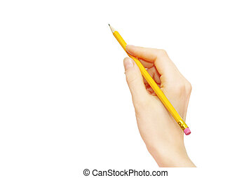 Hand with pencil isolated on white