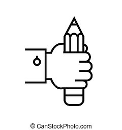 Hand with pencil line icon, concept sign, outline vector illustration, linear symbol.