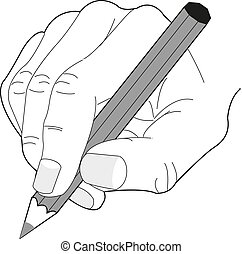 Hand with pencil Vector illustration