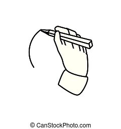 hand with pencil write icon