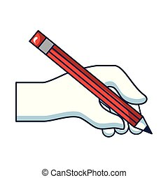 hand with pencil write isolated icon