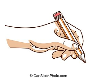 Hand with pencil writing or drawing isolated on white background, vector trendy style illustration.