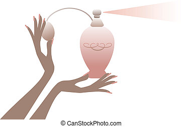 hand with perfume bottle, vector - female hands holding...