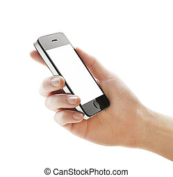 hand with phone on a white background