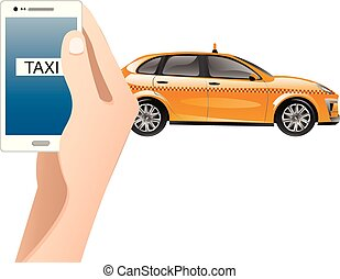 Hand with phone. On the device screen for ordering a taxi.