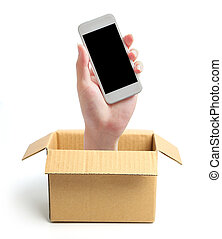 Hand with phone out of box
