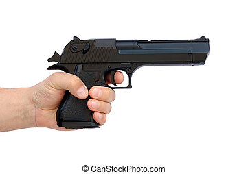 Hand with pistol - Hand with big airsoft gun