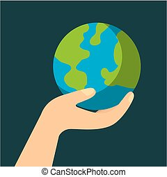 hand with planet earth ecology and environment flat vector...