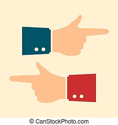 Hand with pointing finger, vector icon