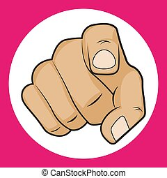 Hand with pointing finger vector illustration on a white background