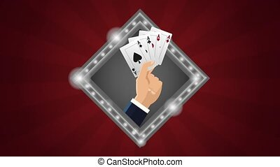 Hand with poker cards HD animation - Hand with poker cards...