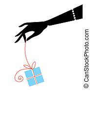 female hand holding blue gift box