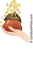 Hand With Purse - hand holding purse and coins