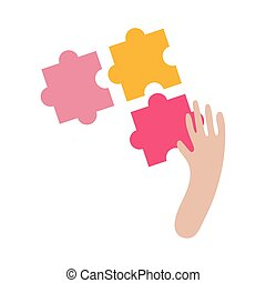 hand with puzzle flat style