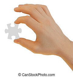 Hand with puzzle piece isolated. An element for your design. Contains clipping paths integrated in jpeg.