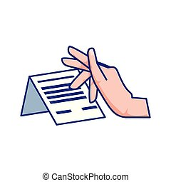 hand with receipt icon
