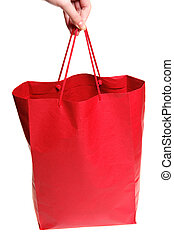 Hand with red bag