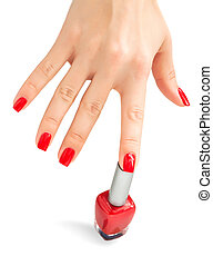 Hand with red nail polish. isolated