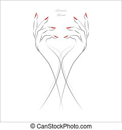 Hand with red nails - Female hand with painted nails, red...
