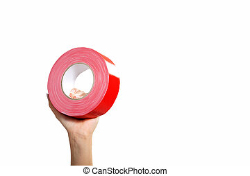 hand with red tape