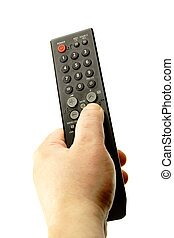 Hand with remote control isolated over the white background
