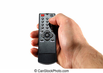 Hand with remote control on white background