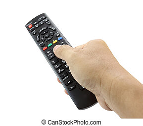 Hand with remote control smart TV on white