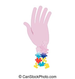 autism awareness day - hand with ribbon puzzles autism...