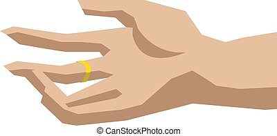 Hand with ring, illustration, vector on white background.