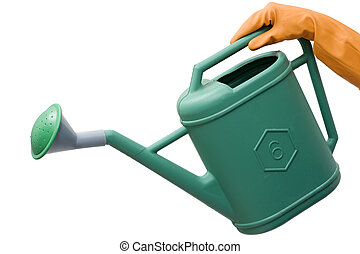 hand with rubber glove holding a watering can