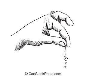 Hand with salt, hands gesture salting food line art, vector cooking symbol hand drawn sketch illustration