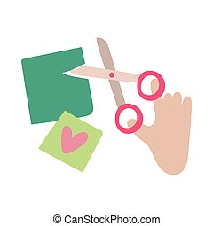 hand with scissors cutting flat style icon