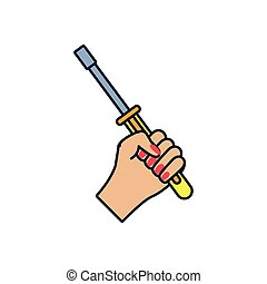 hand with screwdriver tool isolated icon