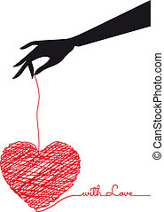 hand with scribble heart, vector - female hand holding red...