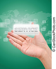 Hand with service button