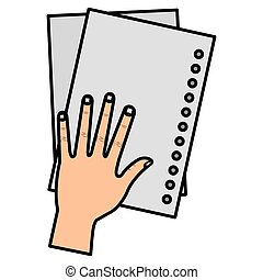 hand with sheet of notebook school