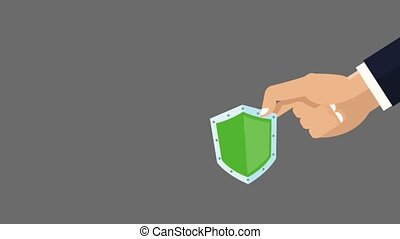 Hand with shield HD animation - Hand holding shield over...