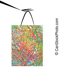 Hand with shopping bag for your design
