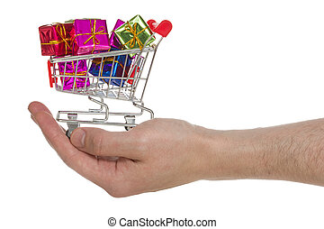 Hand with shopping cart full of colorful gifts