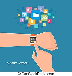Hand with smart watch. Vector illustration in flat style. Design elements and app icons