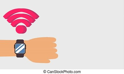 hand with smart watch wifi internet signal animation