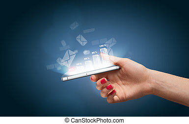 Hand with smartphone and business icons and graphic