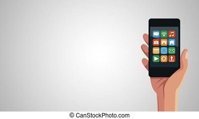 hand with smartphone and menu applications animation...