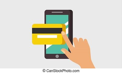 hand with smartphone bankcard commerce technology animation