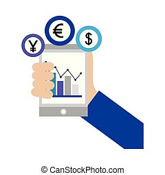 hand with smartphone chart business coins dollar euro yen