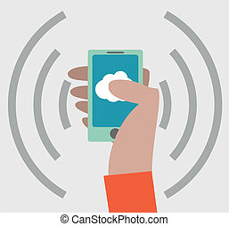 Hand with smartphone icon