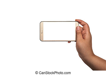 Hand with smartphone isolated, Clipping path